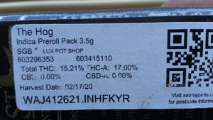 "The label of a cannabis package containing ""The Hog"""