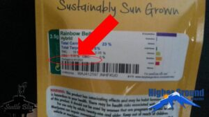 Cannabis label displaying packed date